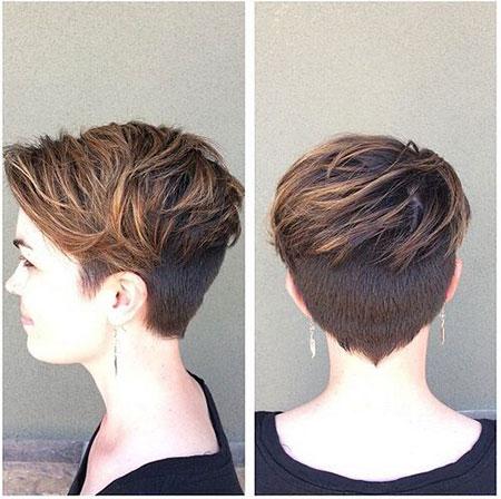 Pixie Cut for Thick Hair, Pixie Choppy Balayage Brown