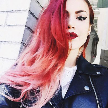 Hair Pink Ombre Red