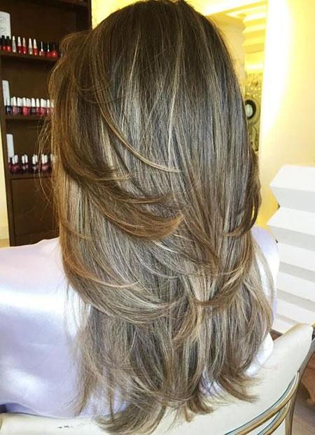 Layered Hair Long Highlights