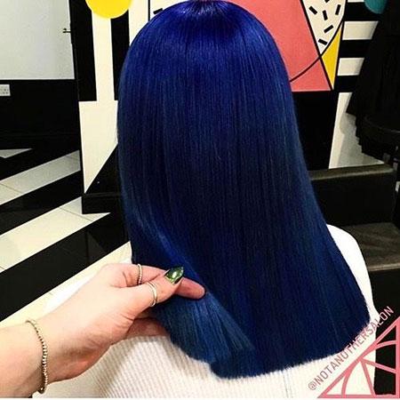 Hair Blue Color Back