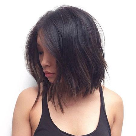 Hair Choppy Lob Brunette
