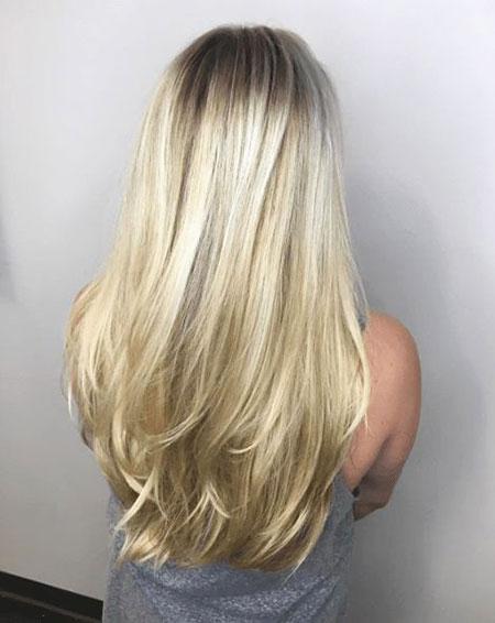 Hair Blonde Layered Long
