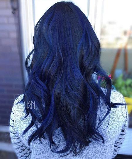 Dark Blue, Blue Hair Color Balayage