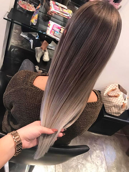 Hair Balayage Silver Straight