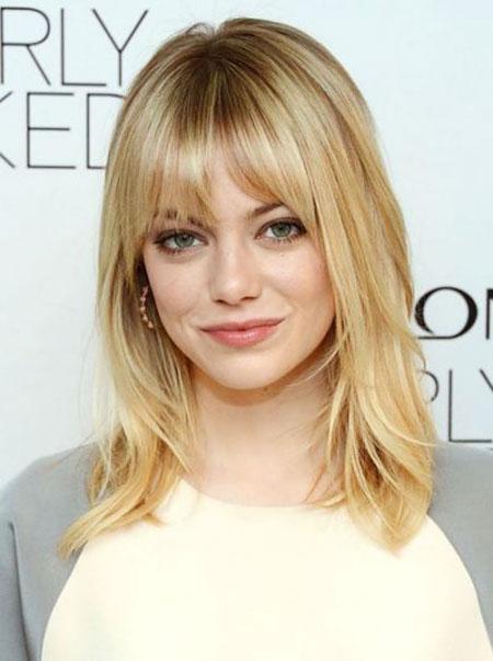 Emma Stone Hairtyl, Bangs Medium Length Hair