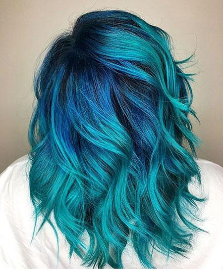 Blue Ombre, Hair Blue Color Ombre