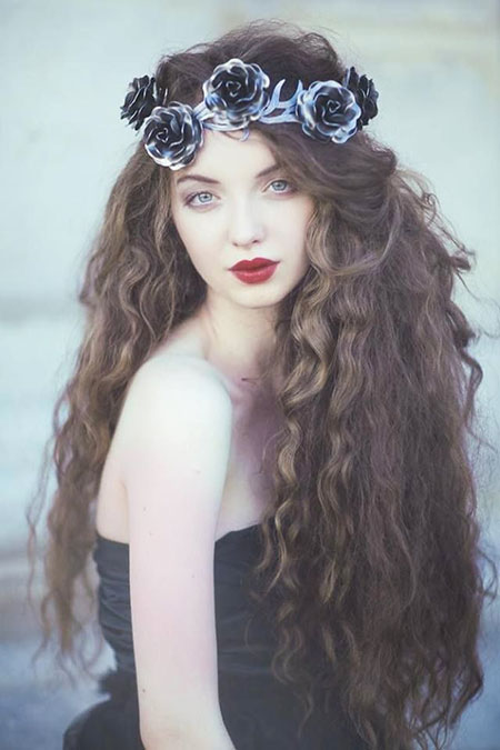 Curly Hair with Flowers, Curly Hair Women Flower