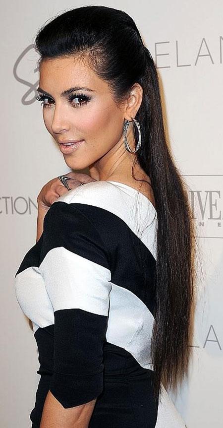 Kim Kardashian Dark Straight Hair