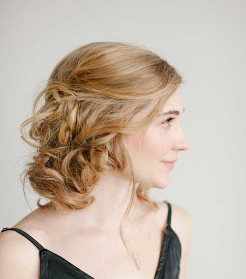 Side Pinned Short Curly Hairdo for Women