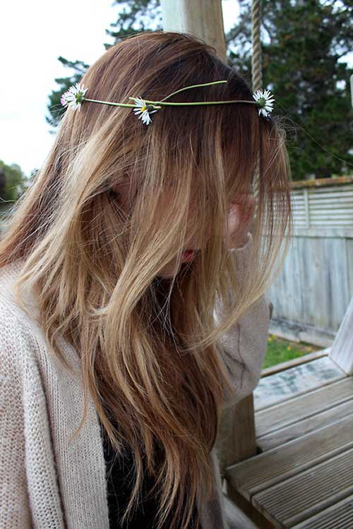 Ombre with Flower Headbands Hair Ideas