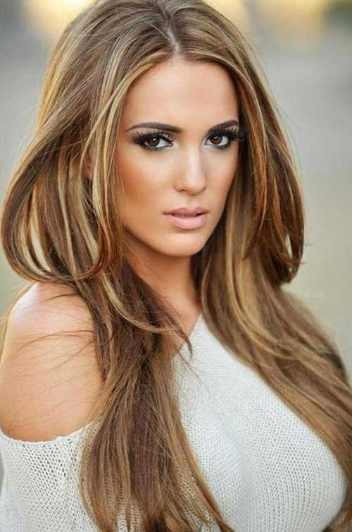 Dark Caramel Layered Hair