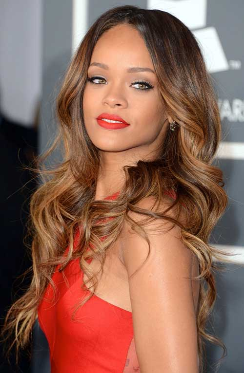 Rihanna Long Layered Haristyle