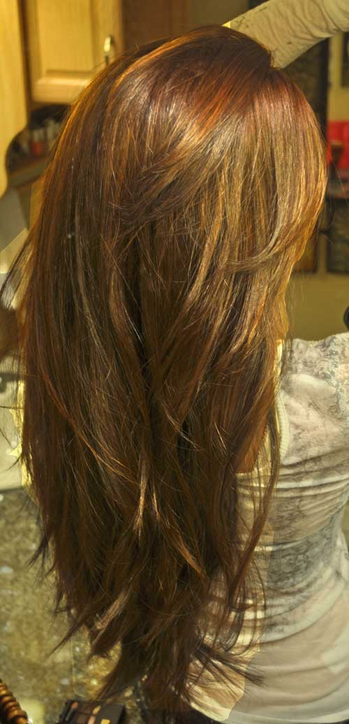 V Shaped Layered Brown Hairstyle