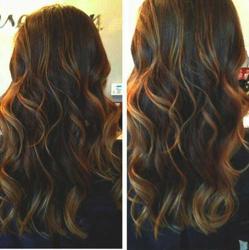 Brown-Caramel Highlighted Hairstyle
