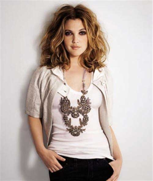 Drew Barrymore Thick Hair Wavy with Layers