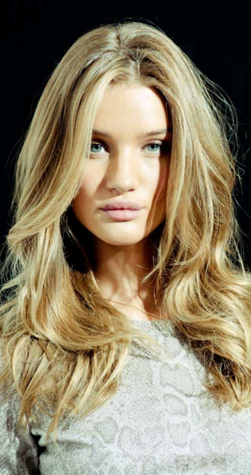 Rosie Huntington Whiteley Golden Blonde Hairstyles