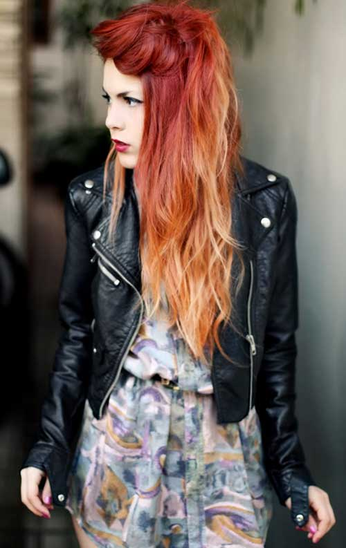 Red Ombre with Blonde Color