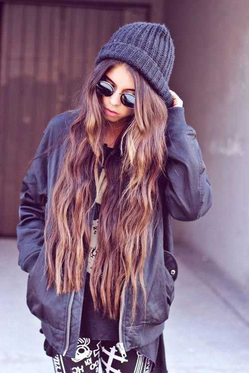 Trendy Brunette Extra Long Hair