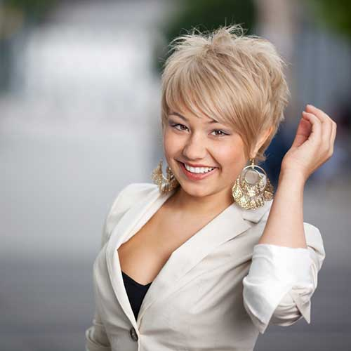 Blonde Long Pixie for Business Women