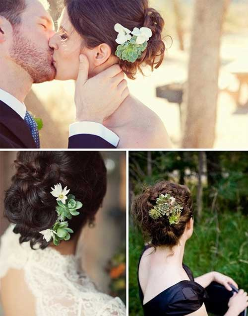 Cute Bun with Flower Accessory Wedding Hairdo