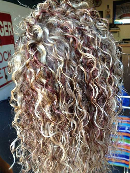 New Curly Hair with Blonde Highlights