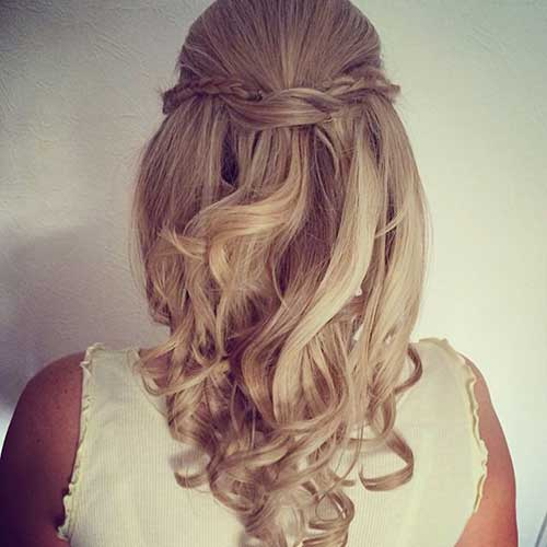 Best Curly Half Up Half Down with Braids Wedding Hair