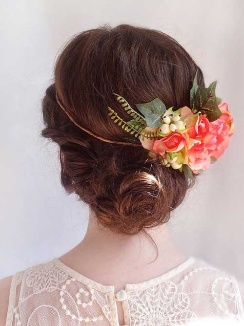 Best Wedding Style Cute Flower Bun Hairdo