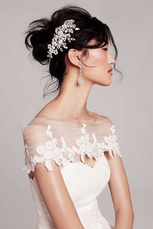 Dark Hair Messy Updo for Wedding Hairstyles