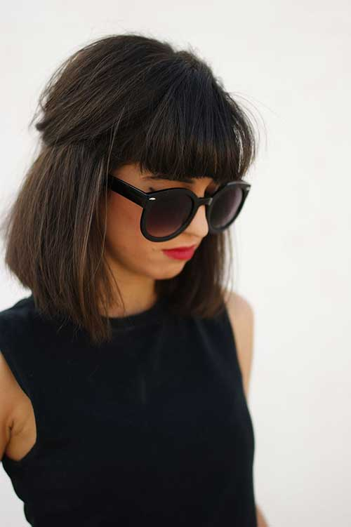 Best Dark Medium Hair with Blunt Bangs