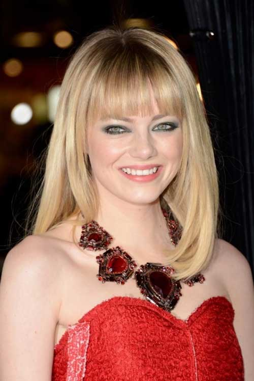 Emma Stone Blunt Bangs on Medium Bob