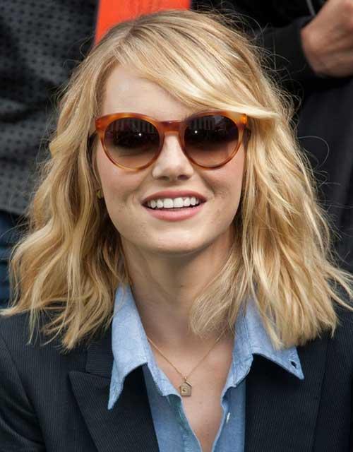 Emma Stone Layered Medium Haircut