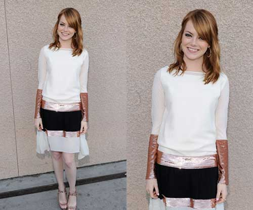 Best Emma Stone Medium Hair Cuts with Bangs