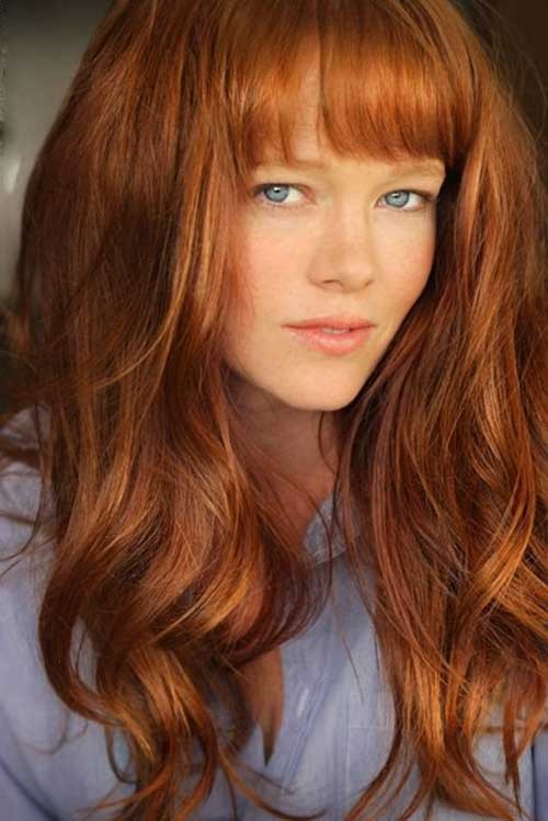 Haircuts with Bangs for Curly Copper Hair