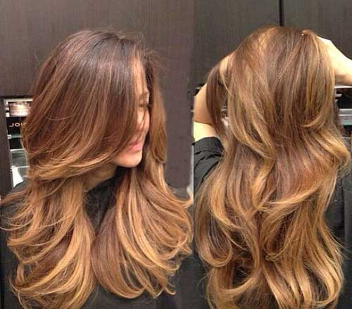 Chocolate Caramel Layered Hair