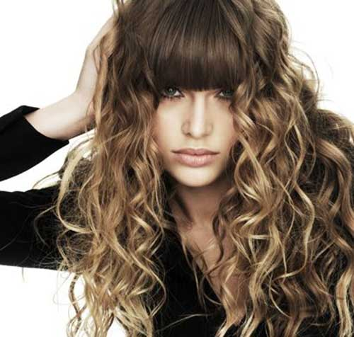bang styles for long curly hair 30 best curly hair with bangs hairstyles amp haircuts 2016 9816 | Long Curly Hair with Bangs