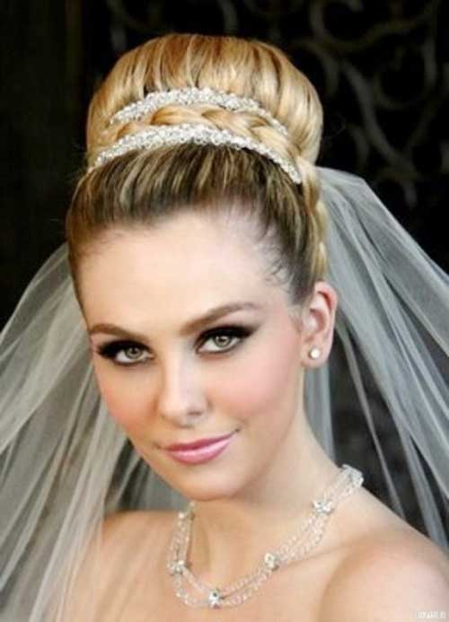 Best Long Hair Wedding Updo with Veil