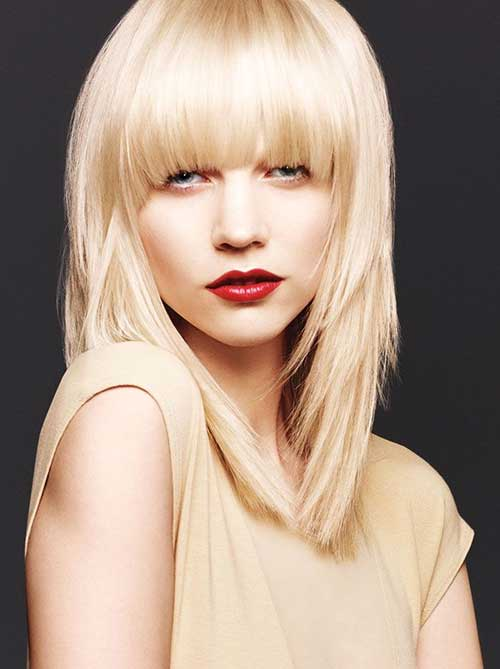 Blonde Medium Hair Styles with Bangs