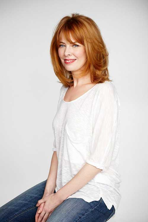 Medium Length Ginger Haircuts Layered And Bangs