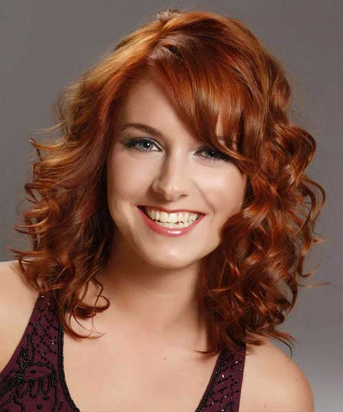 Medium Length Hairstyles for Curly Hair Staight Bangs