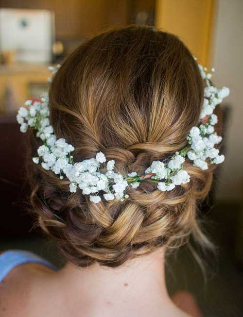 Nice Braided Updo with Flowers Headband