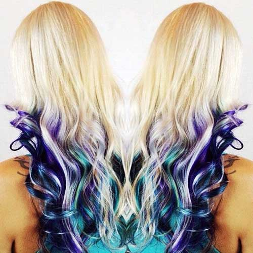 Custom Peacock Colors Over Platinum Blonde