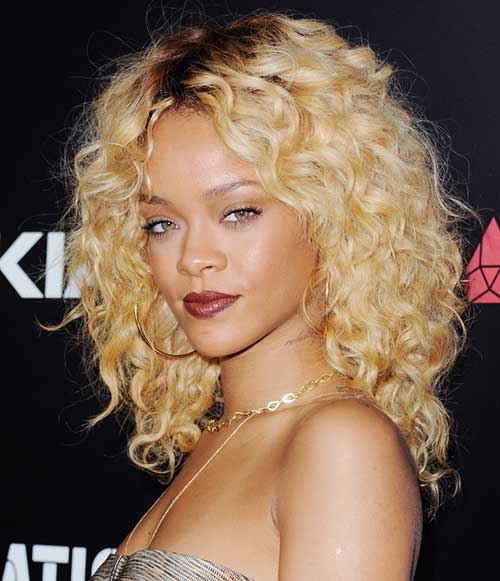 Rihanna Blonde Curly Hairstyles