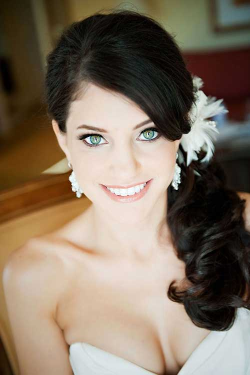 Sideswept Beautiful Wedding Hairstyle with Feather
