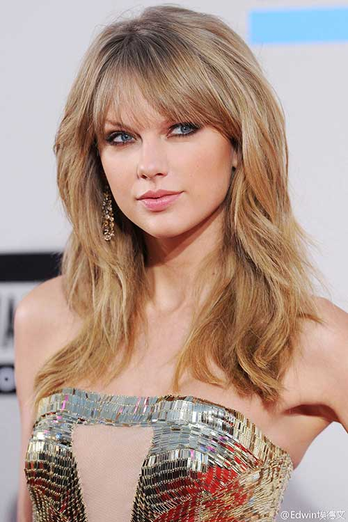 Taylor Swift Layered Hairstyles with Bangs