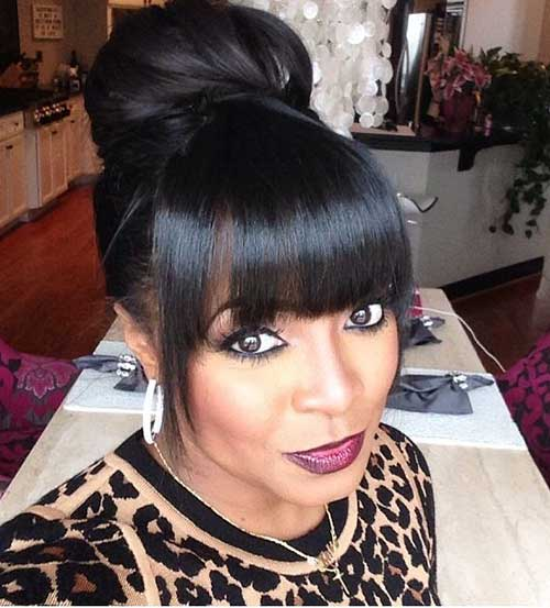 20 Bun Hairstyles With Bangs Hairstyles And Haircuts