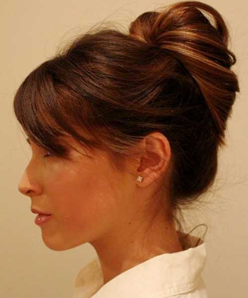 20+ Bun Hairstyles with Bangs