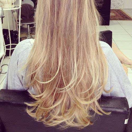 Blonde Layered Haircut Back View
