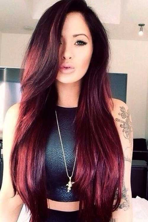 Latest Red Long Hairstyle for Womens 2015