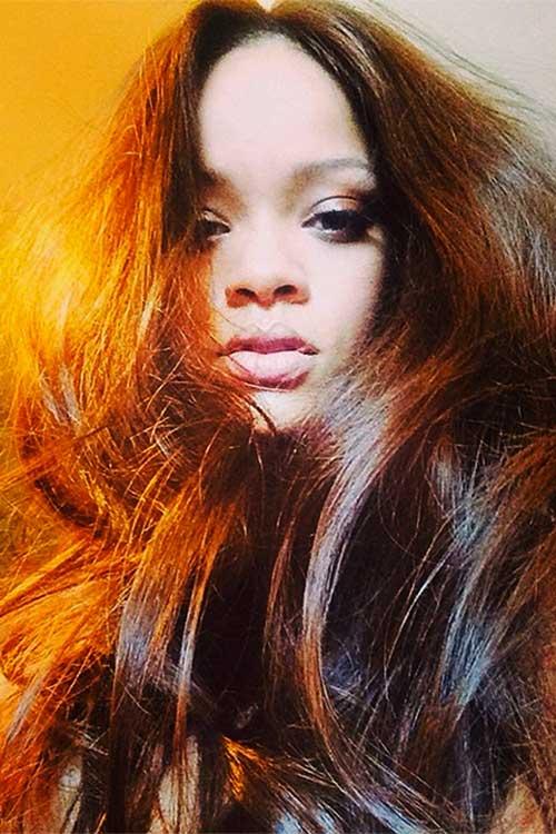 Rihanna Stylish Hairstyles Long Hair Pics