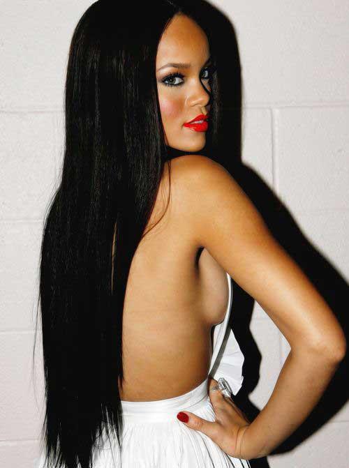 Best Rihanna Very Long Dark Hair